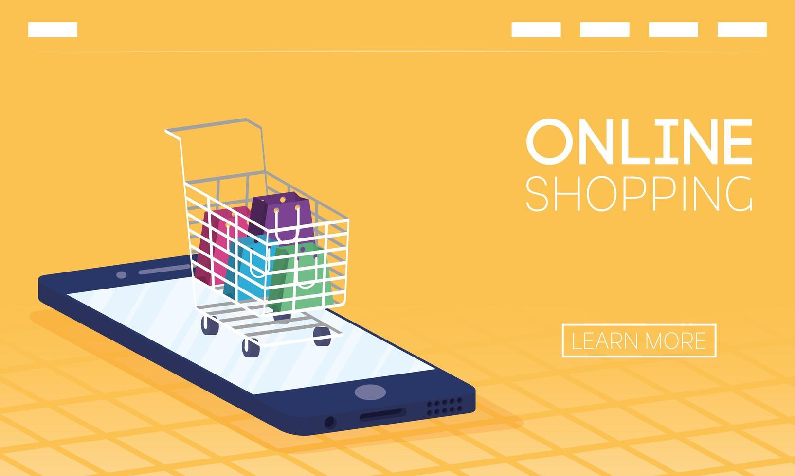 banner de compras online e e-commerce vetor