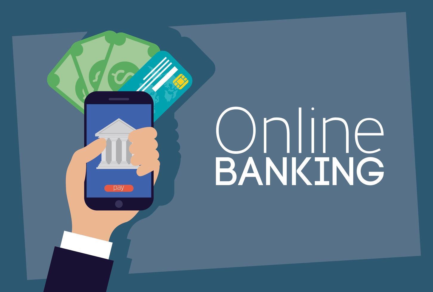 tecnologia de banco online com smartphone vetor