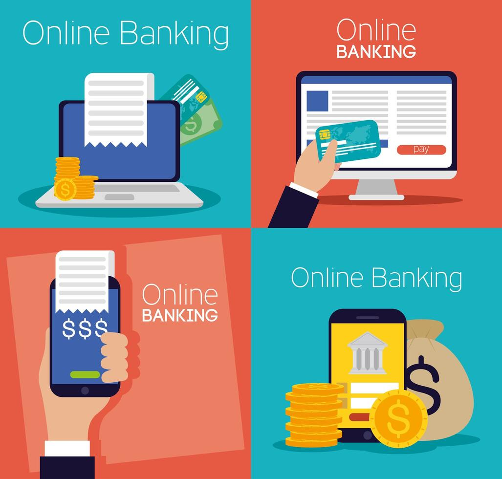 tecnologia de banco online com dispositivos eletrônicos vetor