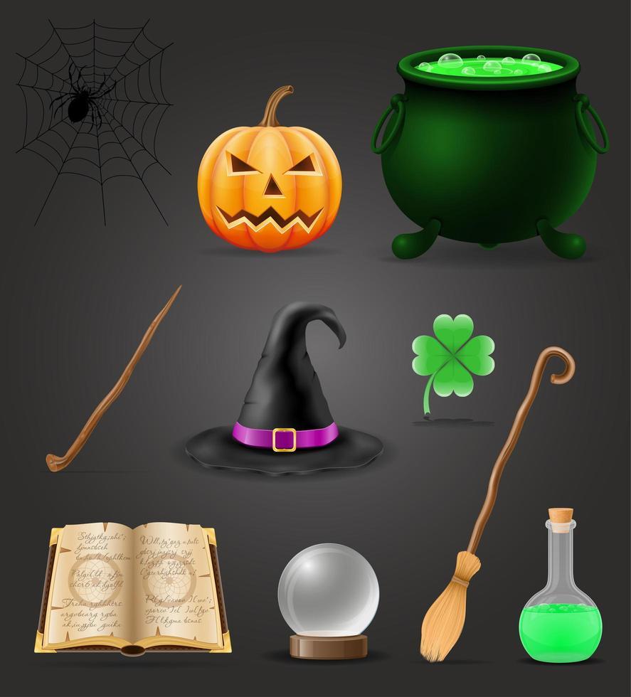 conjunto de objetos mágicos para feitiçaria vetor