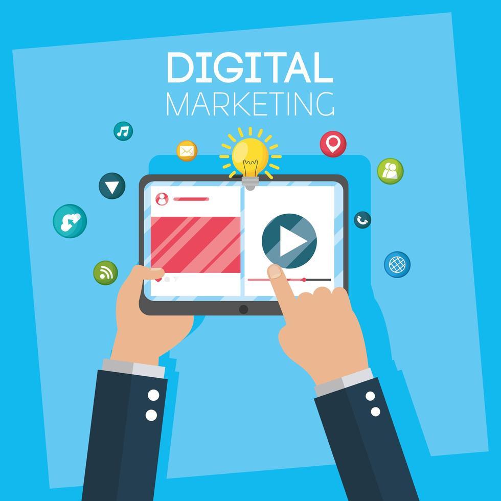 banner de marketing digital com tablet vetor