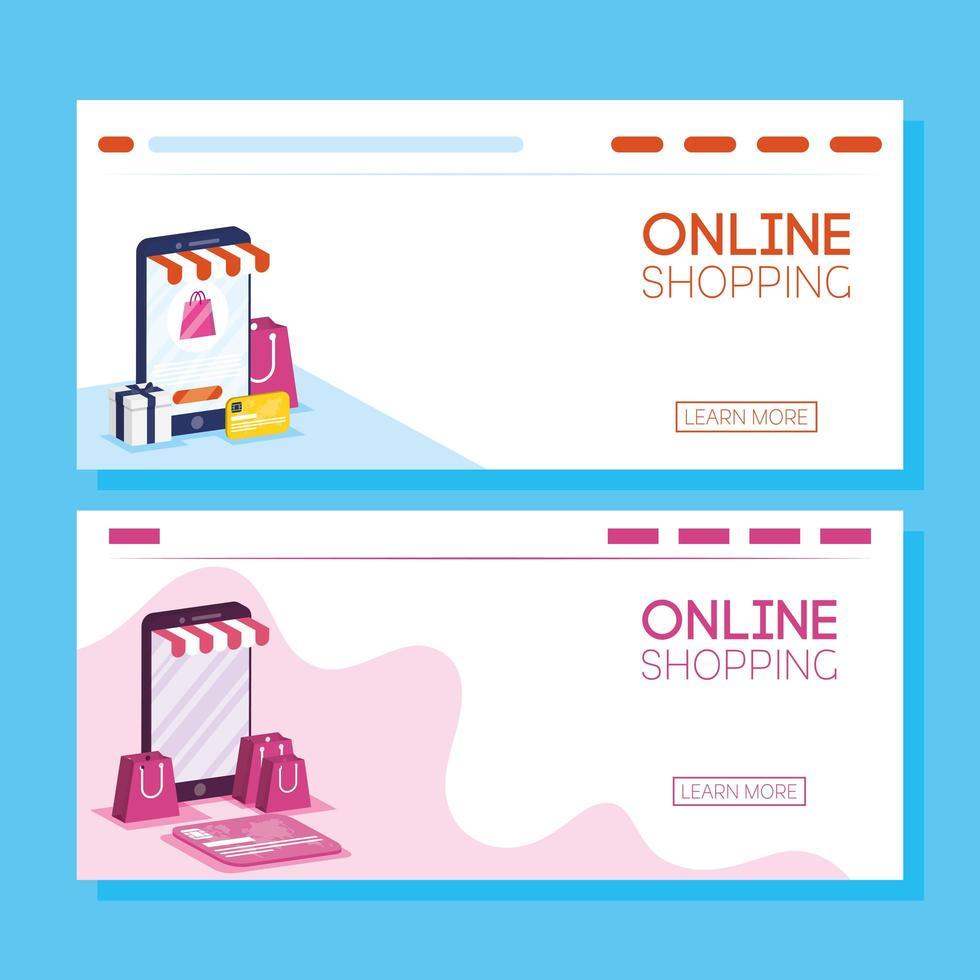 conjunto de banners de compras online e comércio eletrônico vetor