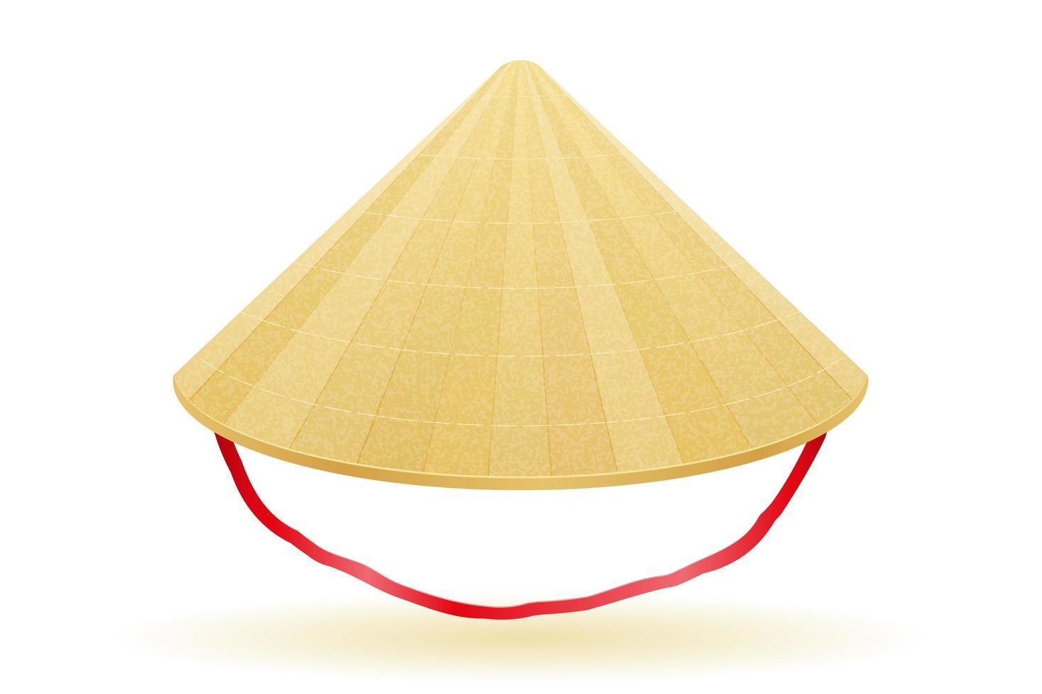 chapéu de palha tradicional asiático vetor