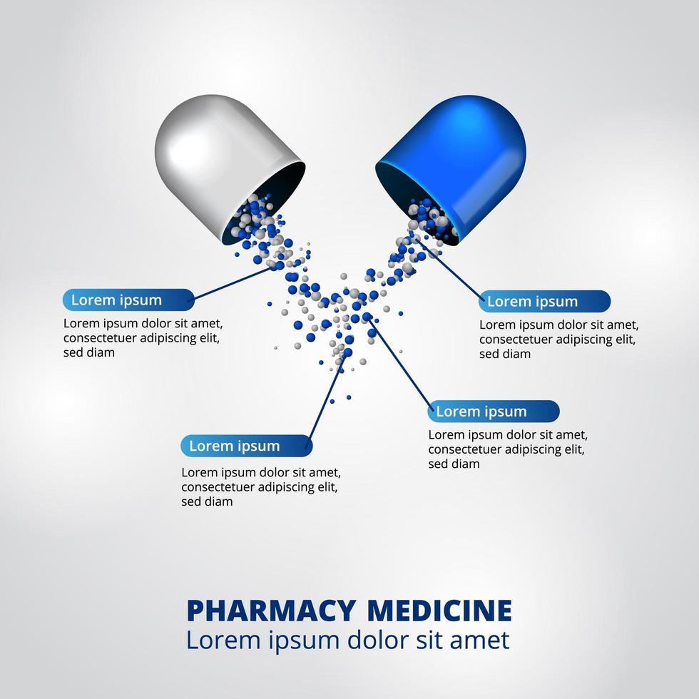 Visualização de dados infográfico de farmácia de comprimidos em cápsulas em 3D vetor