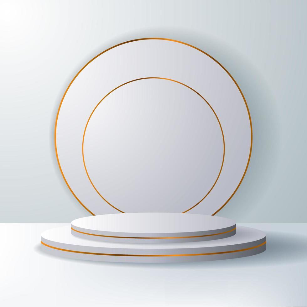 elegante cor branca e palco dourado vazio vetor