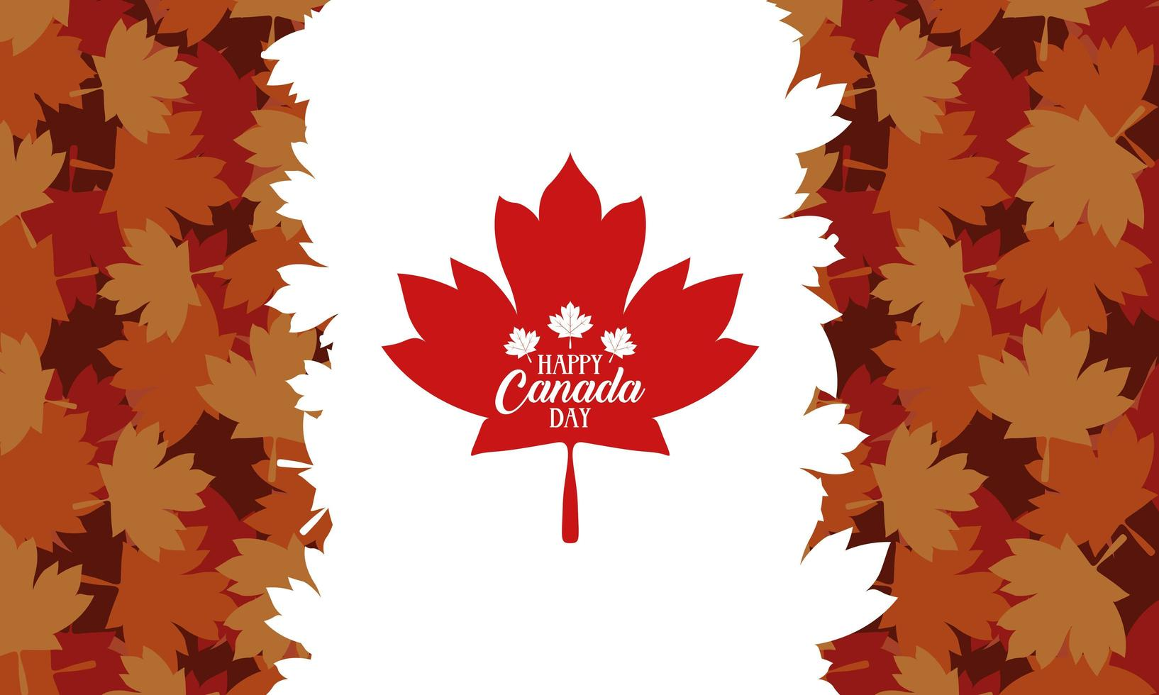 banner de celebração do feliz dia do Canadá com folhas de plátano vetor