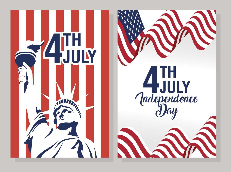 conjunto de banner de celebração do dia da independência dos eua vetor