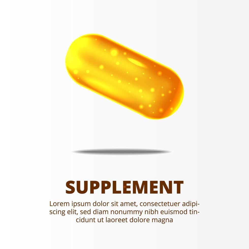 Comprimidos de ouro amarelo suplemento 3D para saúde vetor