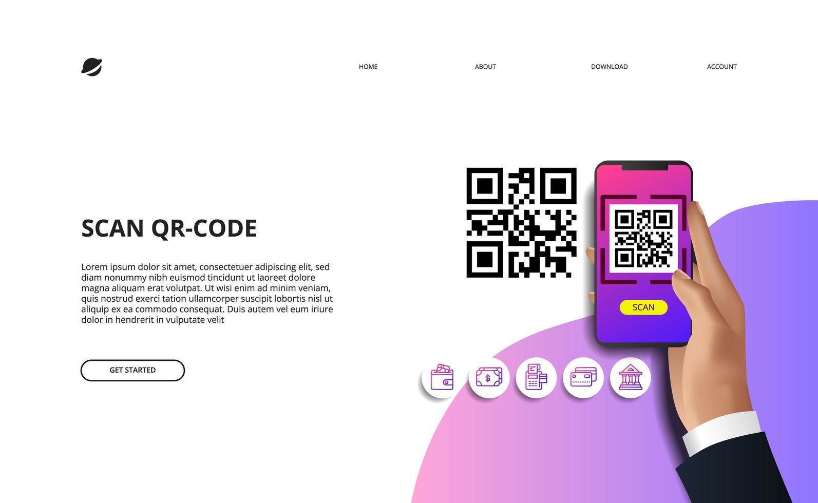 código qr para pagamento online de finanças vetor