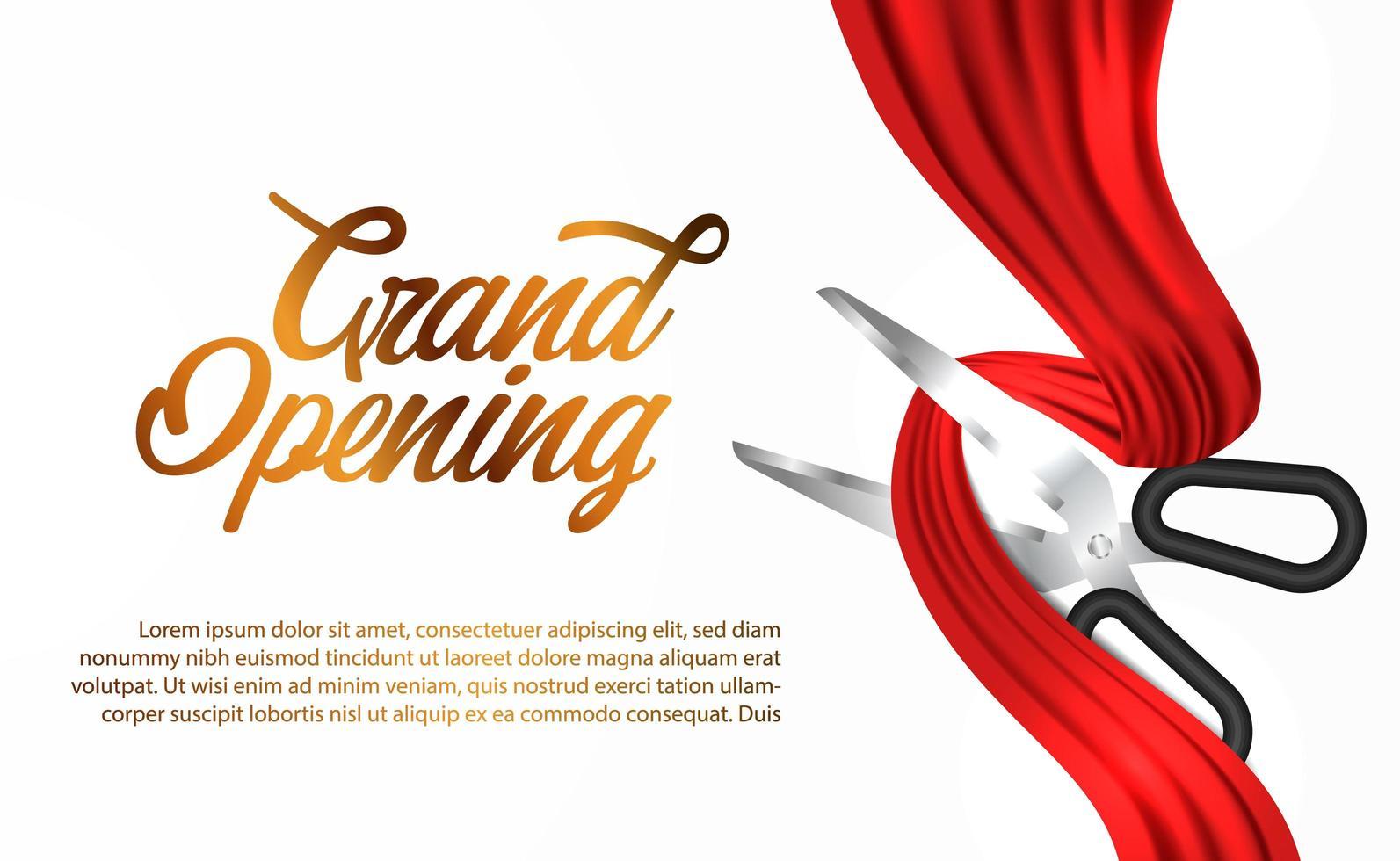 grande inauguração com tesoura de corte fita de seda vermelha vetor