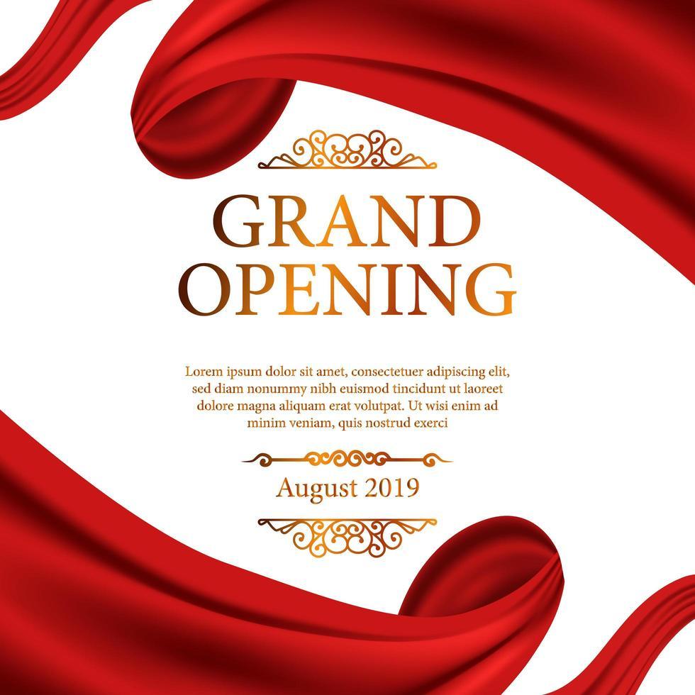 moldura de fita de seda vermelha para cerimônia de inauguração vetor