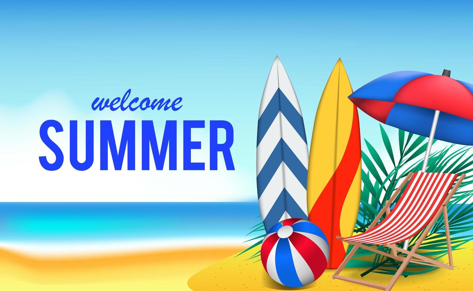 Olá, dia de verão, viagem, férias na praia vetor
