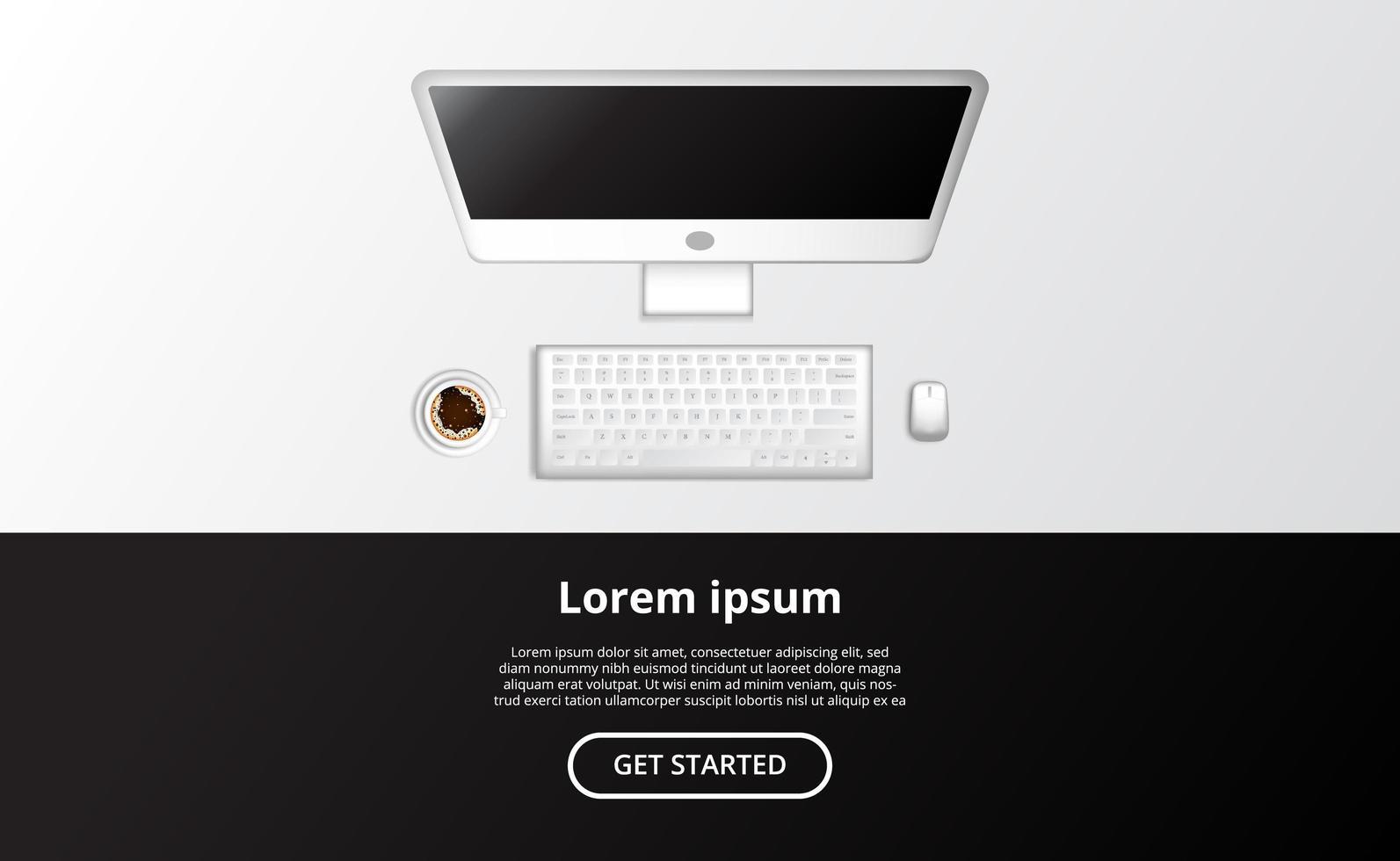 computador com mouse e uma xícara de café. vetor