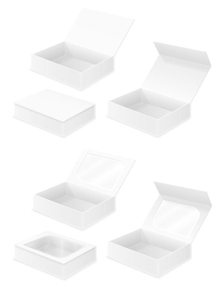 conjunto de embalagens de caixa de papelão vazio vetor
