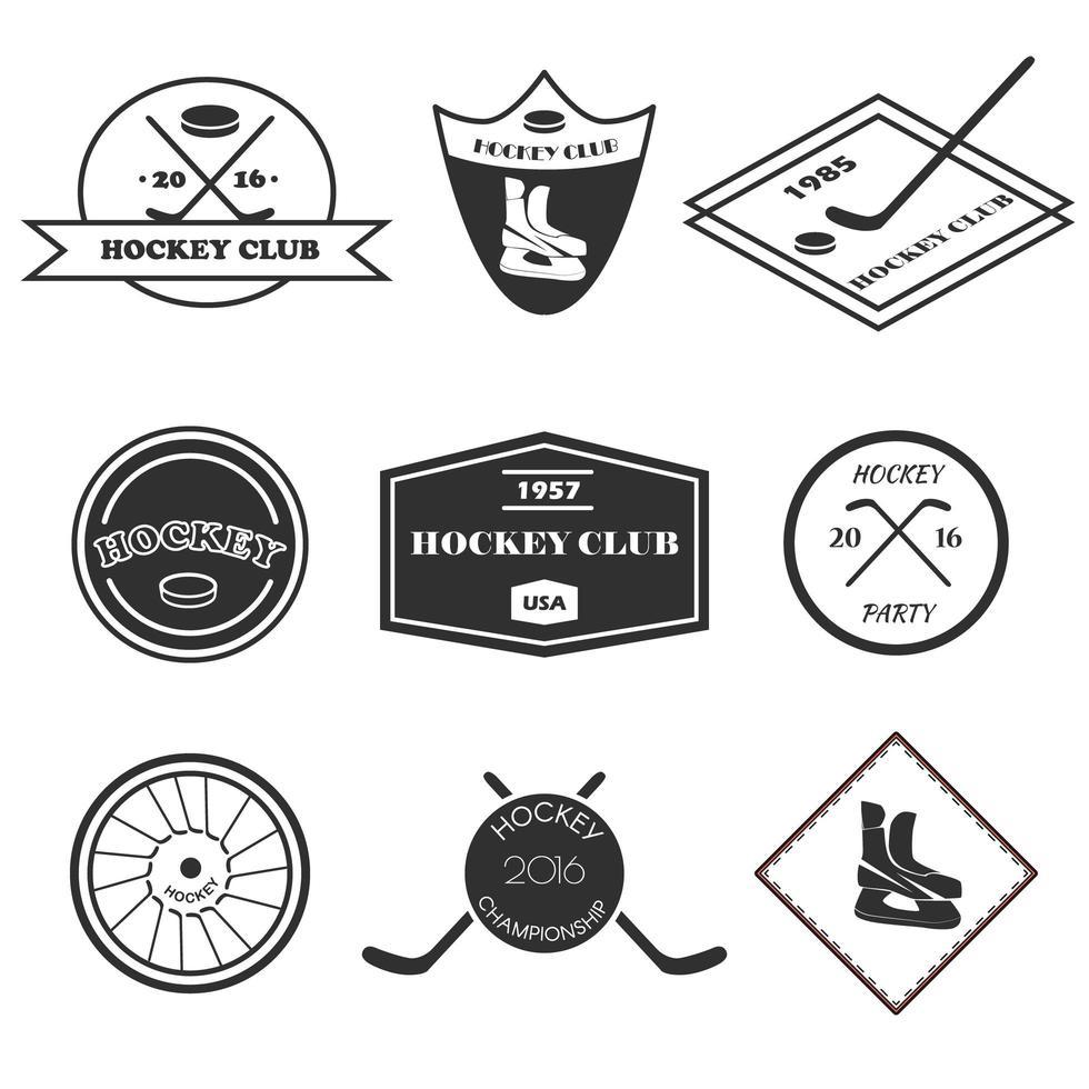 conjunto de logotipo de hóquei. vetor