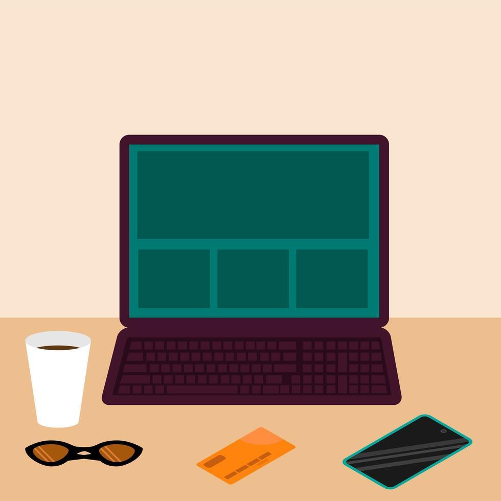 mesa com laptop vetor