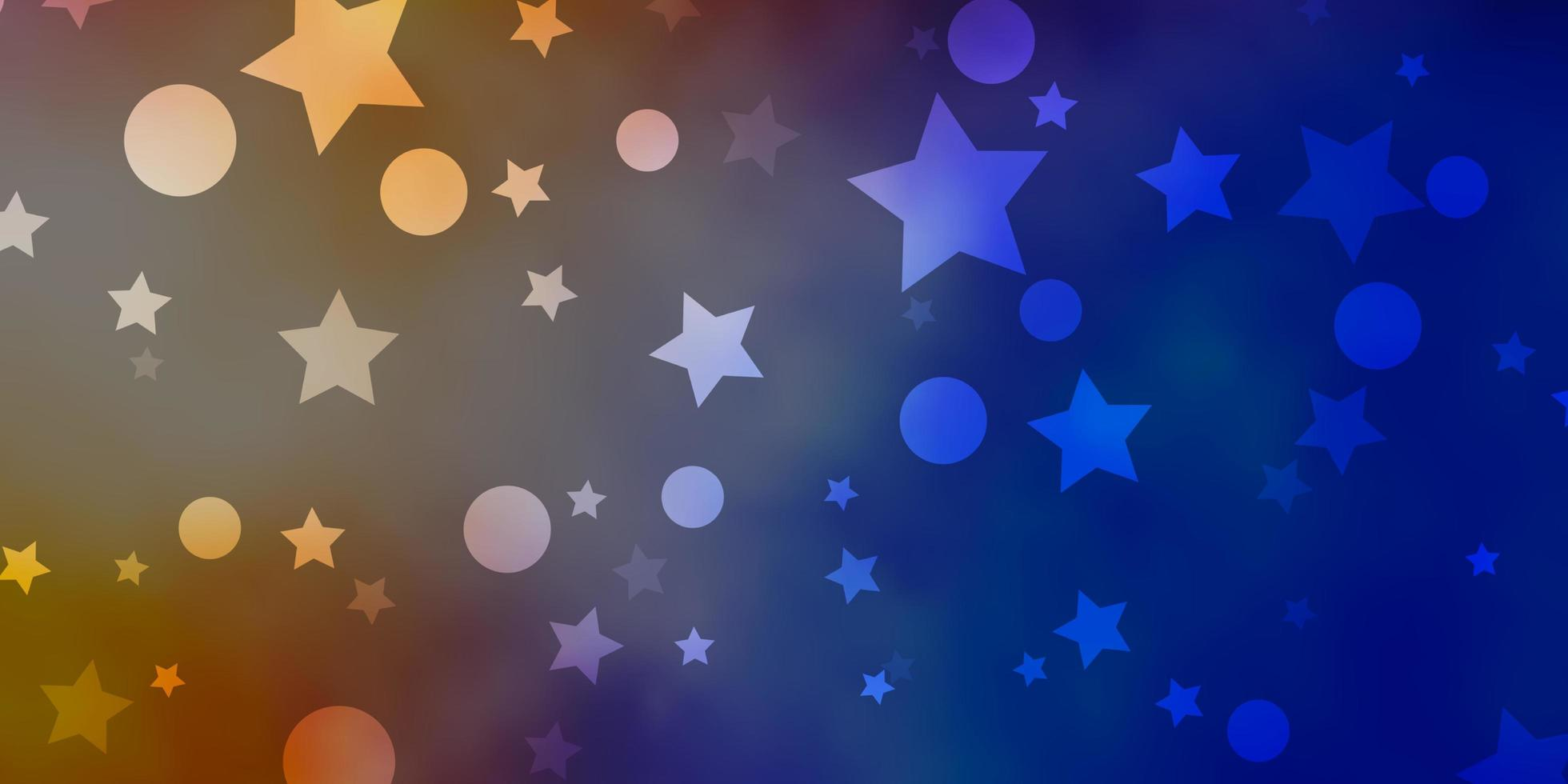 fundo azul, amarelo com círculos, estrelas. vetor