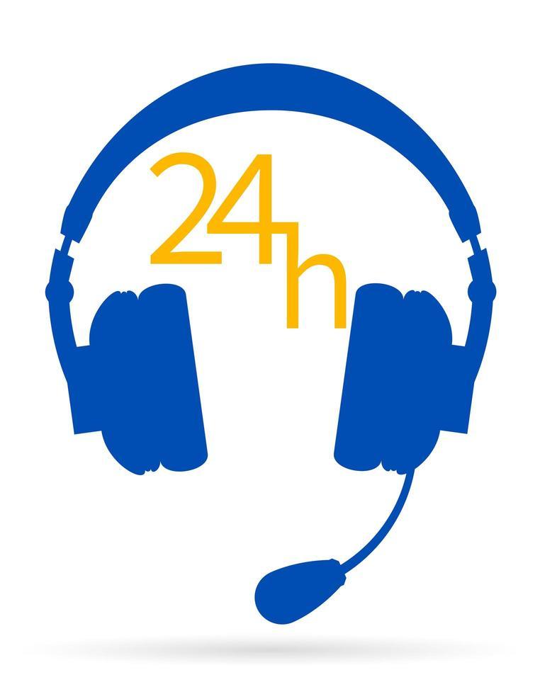 fones de ouvido com centro de suporte de microfone vetor
