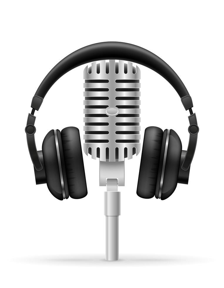fone de ouvido e microfone para estúdio de rádio vetor