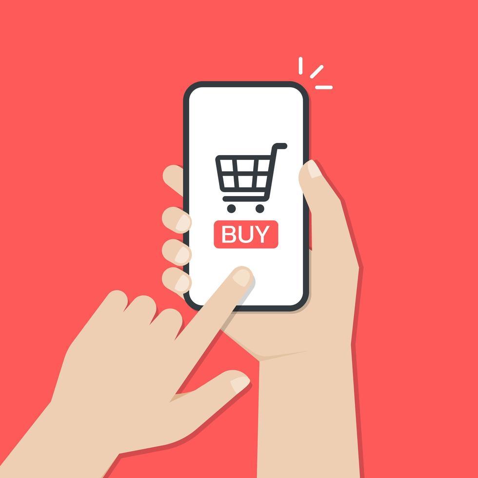 mãos usando um smartphone para fazer compras online vetor