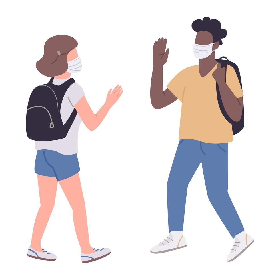 alunos em máscaras médicas vetor