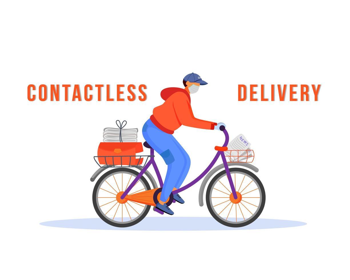 entregador sem contato andando de bicicleta vetor