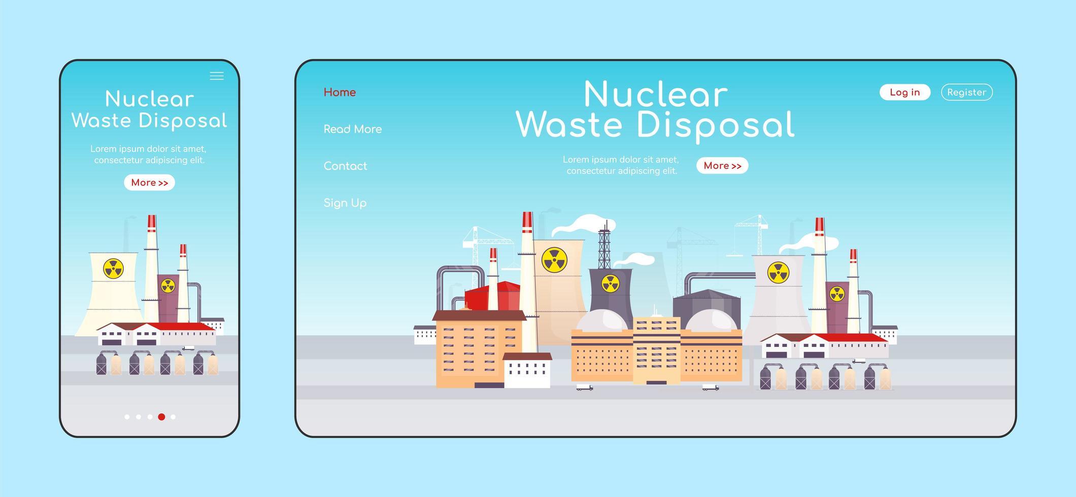 página de destino adaptável de eliminação de resíduos nucleares vetor