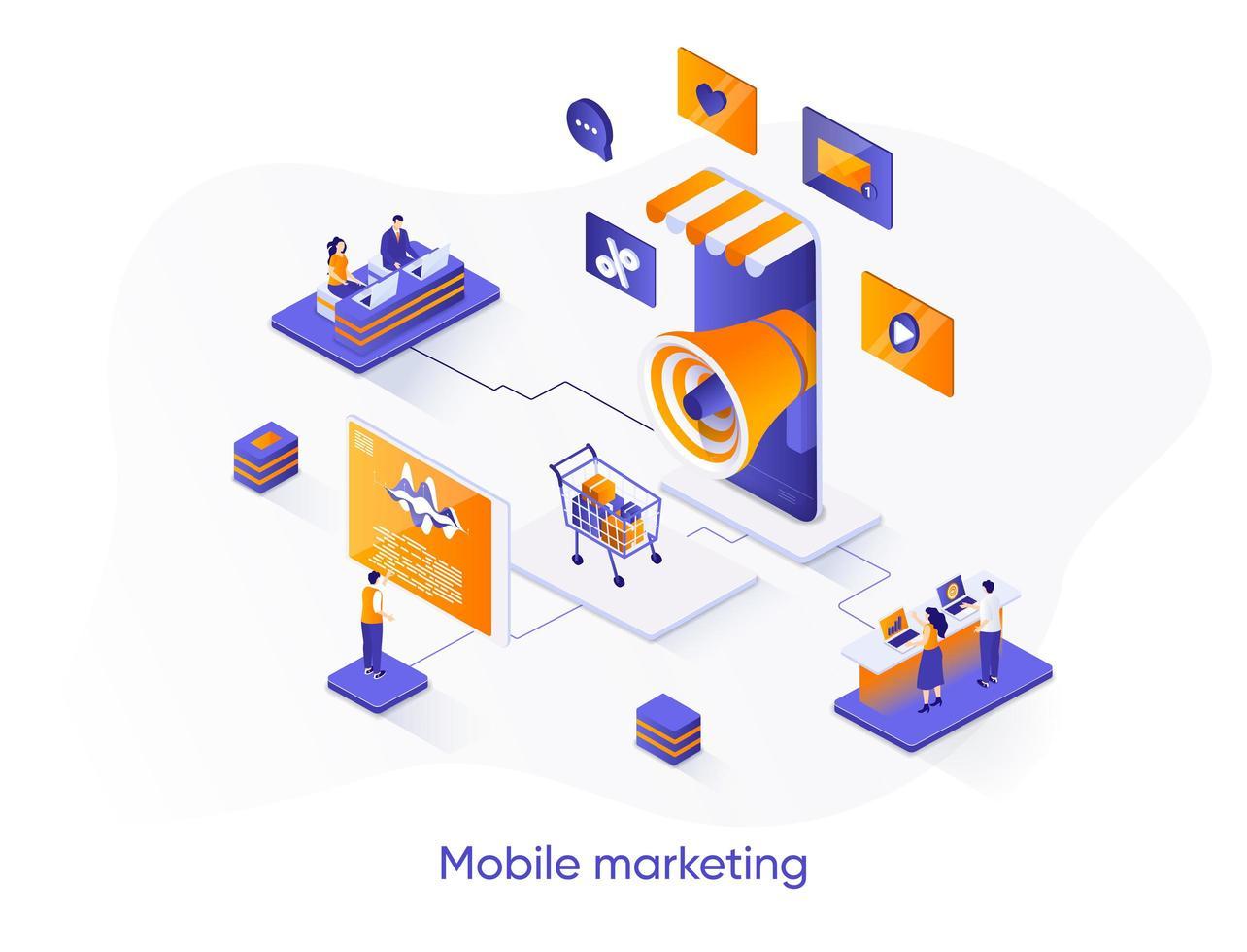 banner de web isométrica de marketing móvel. vetor