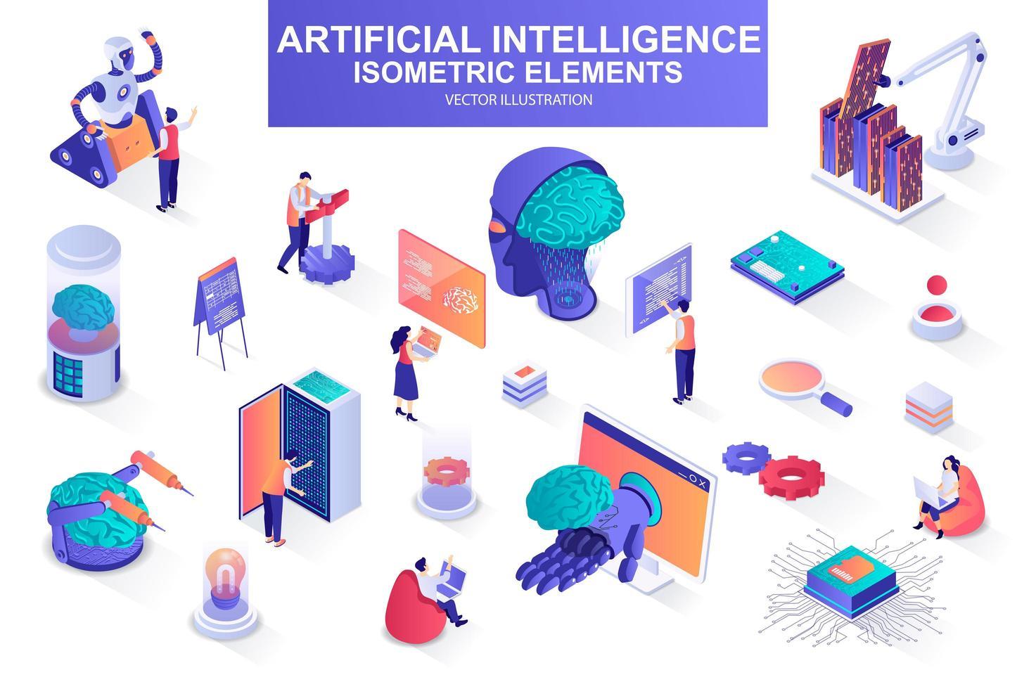 pacote de inteligência artificial de elementos isométricos. vetor