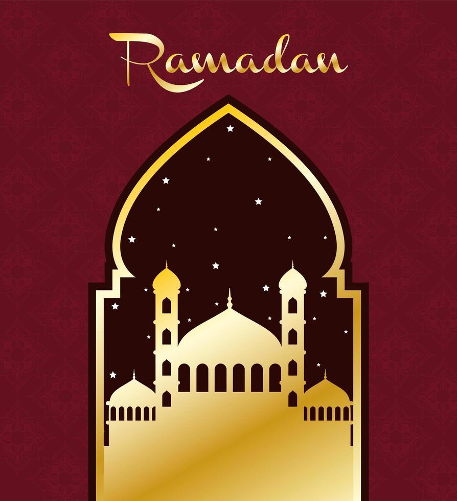 banner de celebração do ramadã com mesquita vetor
