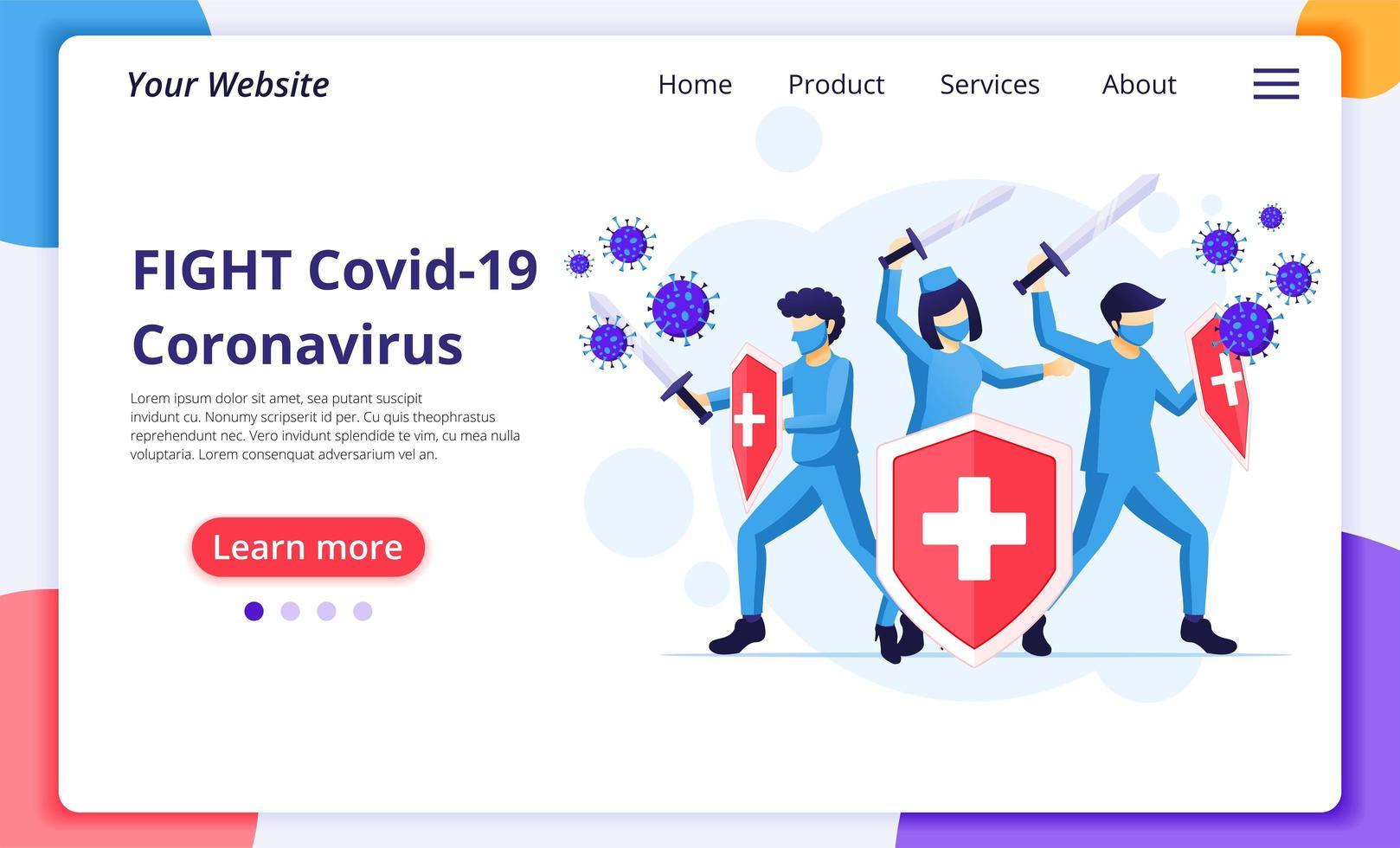 médicos que lutam contra o vírus covid-19 vetor