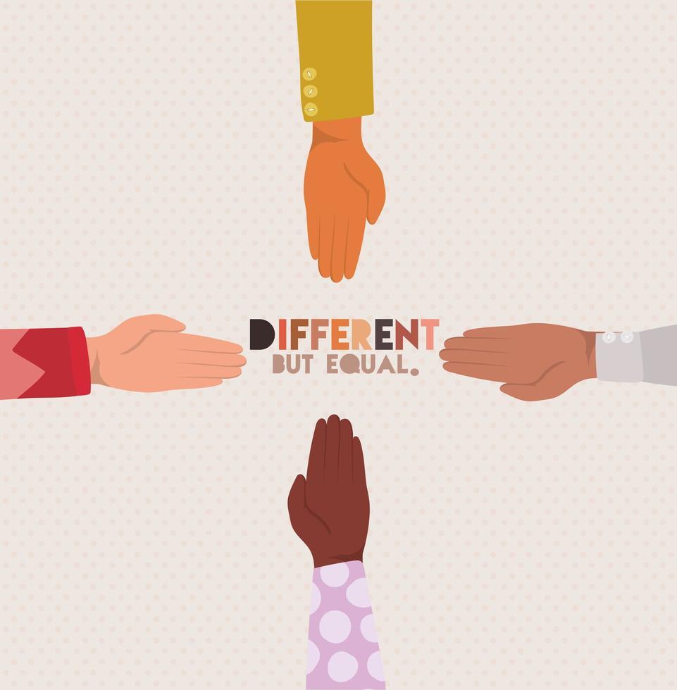 design de mãos de pele diferente, mas igual e com diversidade vetor