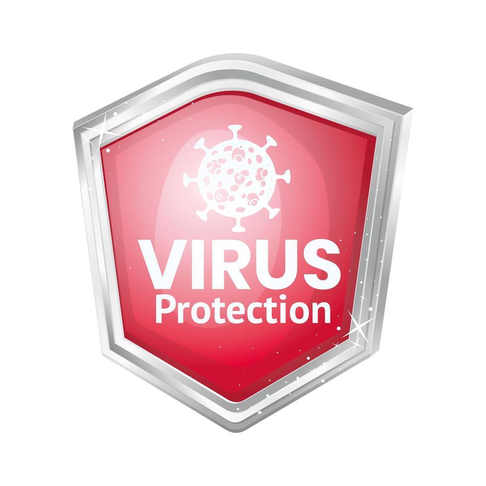design de escudo de proteção contra vírus covid 19 vetor