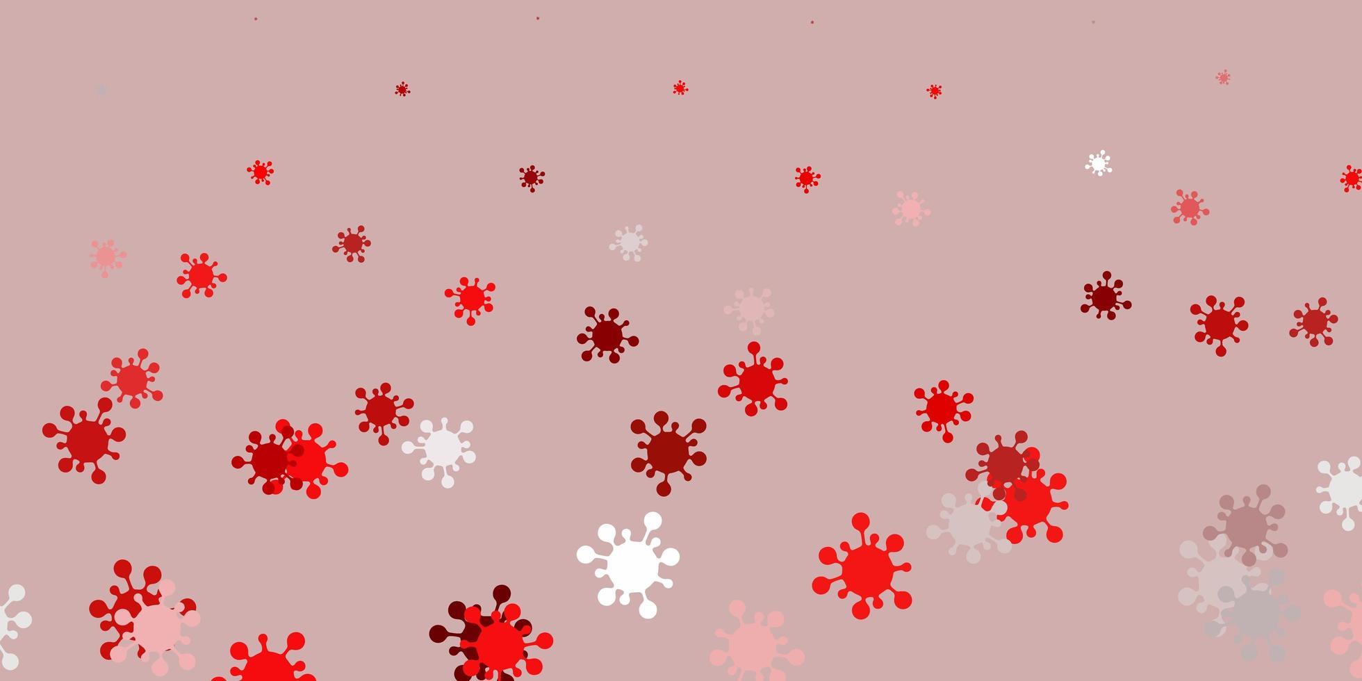 pano de fundo vermelho claro com símbolos de vírus. vetor