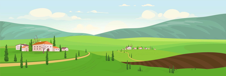 época de plantio em vilas no topo da colina vetor