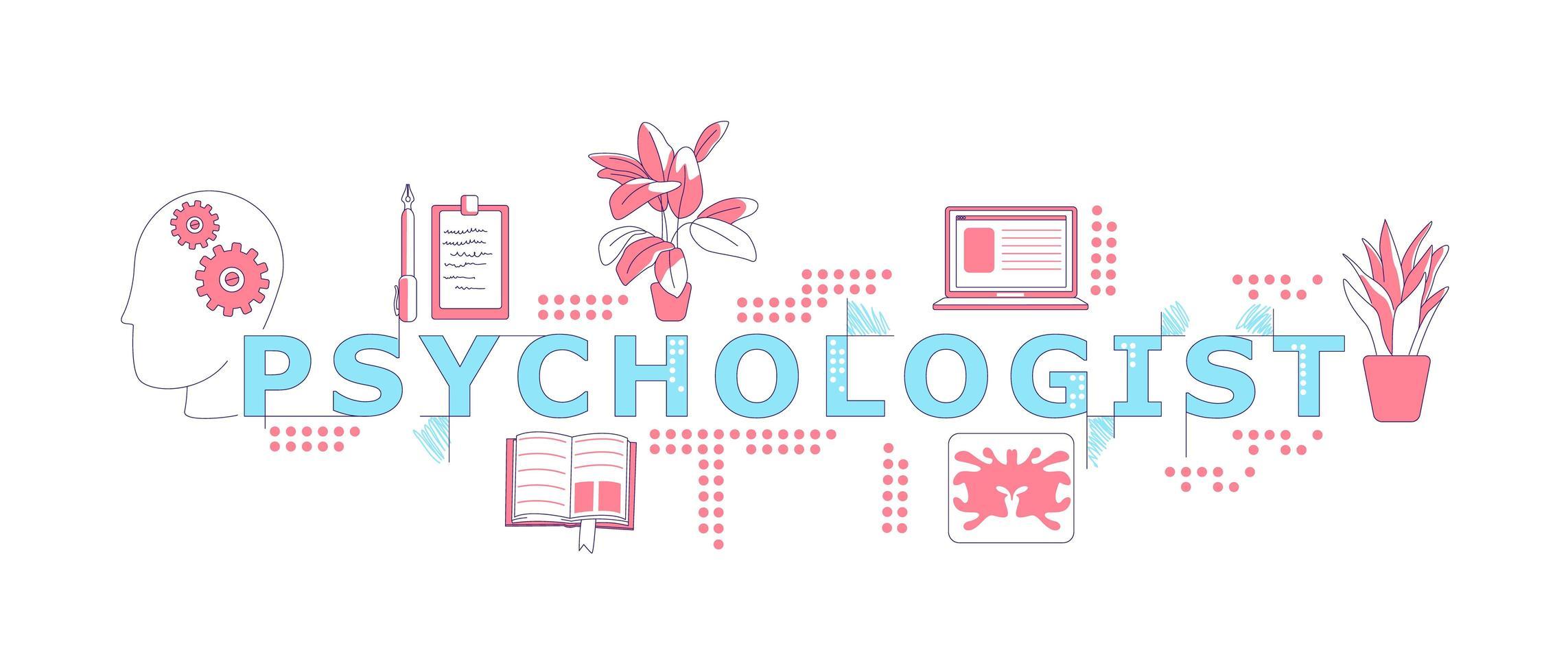 psicólogo palavra conceitos palavra banner vetor