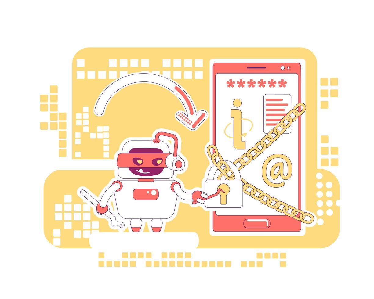 hacker bot design de linha fina vetor
