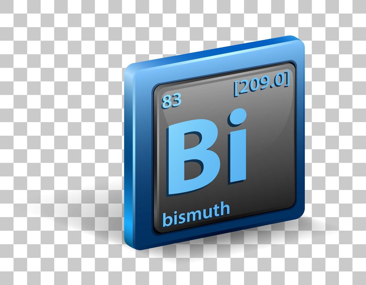 elemento químico de bismuto. símbolo químico com número atômico e massa atômica. vetor