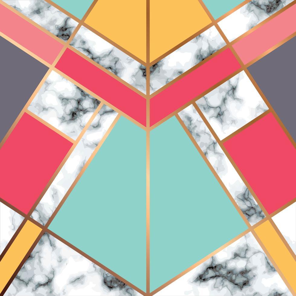 design de textura de mármore com linha geométrica dourada vetor