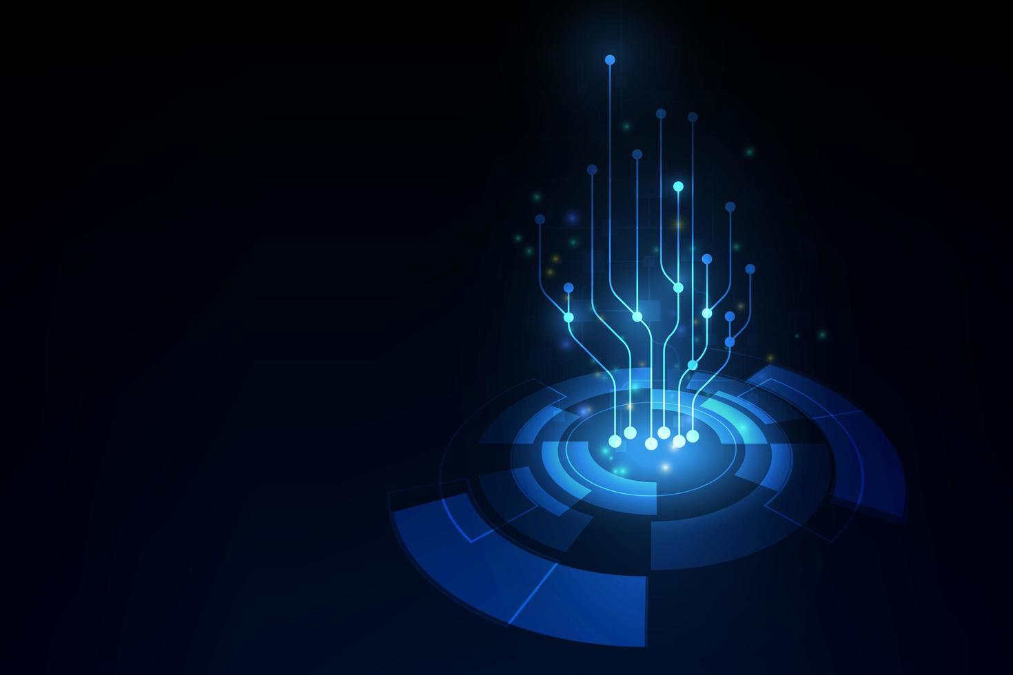 fundo abstrato com placa de circuito azul de alta tecnologia vetor