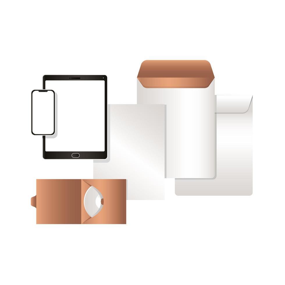 tablet maquete com cd para smartphone e design de envelopes vetor