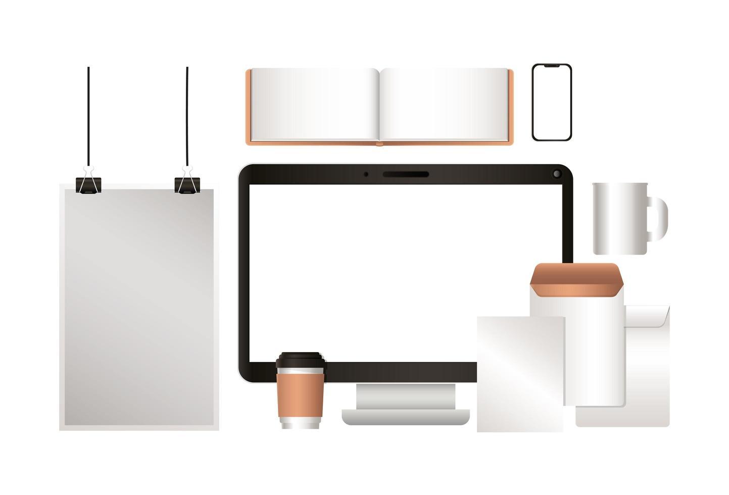 maquete de computador notebook envelopes e canecas de café design vetor