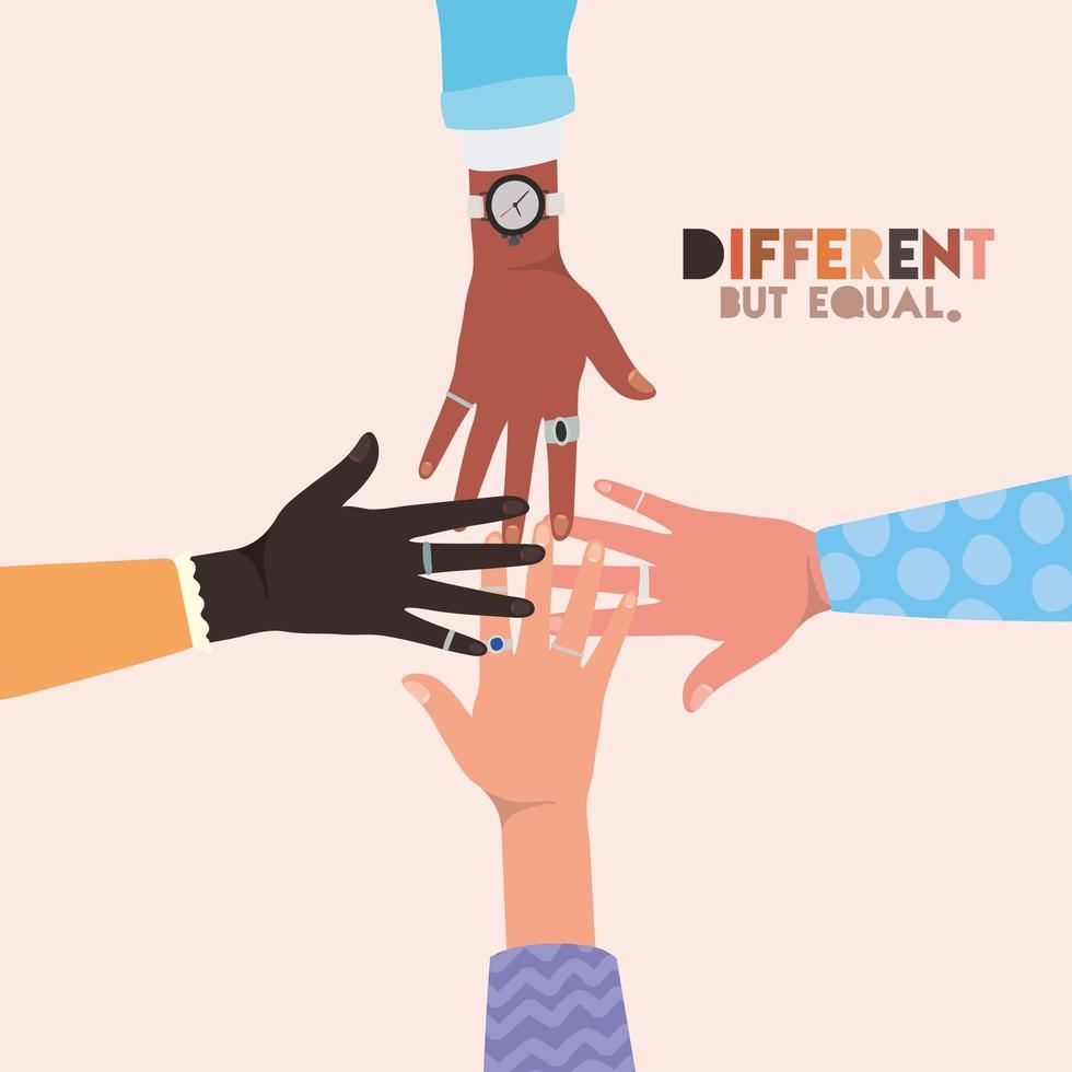 mãos de skins diferentes, mas iguais e de diversidade vetor