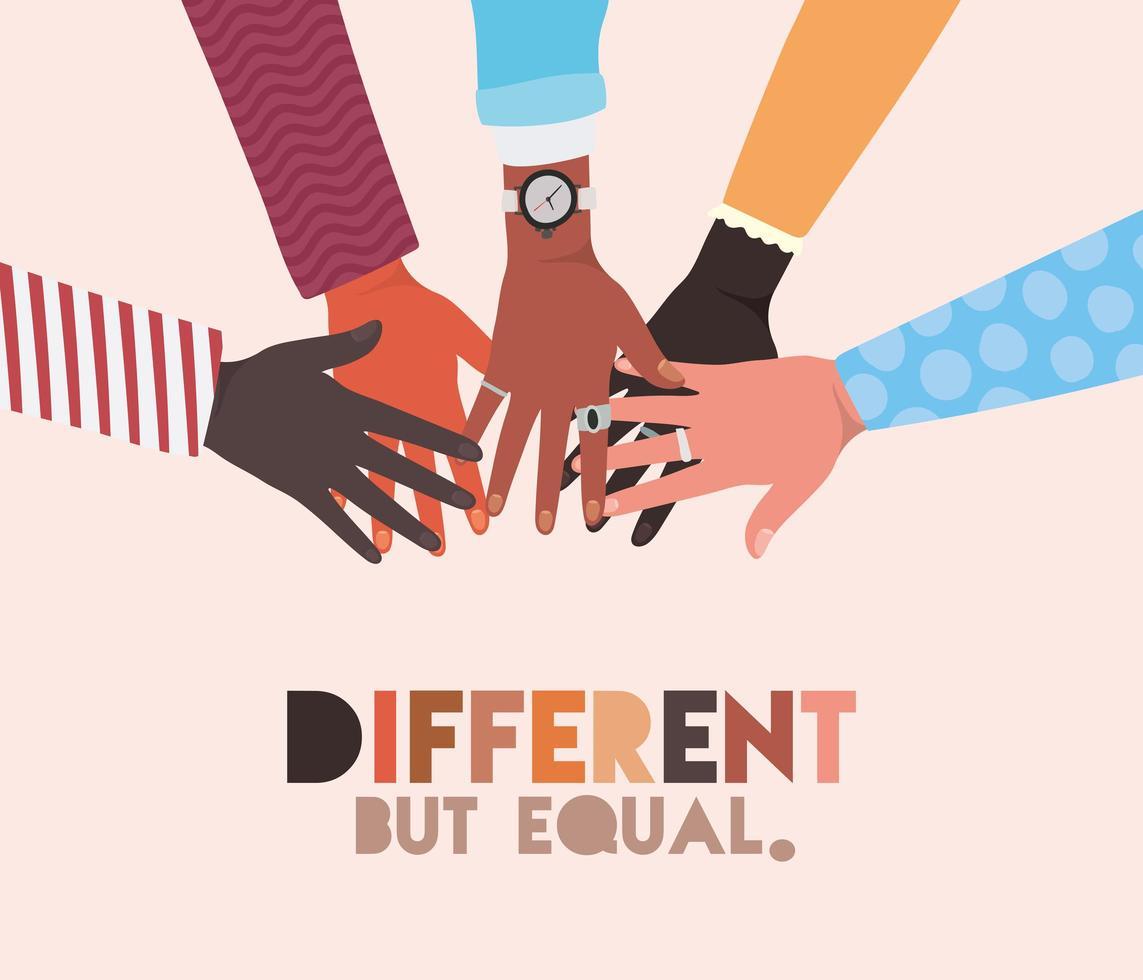 peles diferentes, mas iguais e de diversidade, mãos tocando vetor