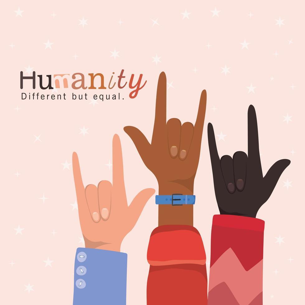 Humanidade diferente, mas igual e com diversidade, mãos do rock vetor