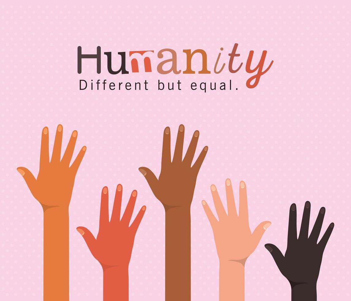 humanidade diferente mas igual e diversidade de mãos abertas vetor