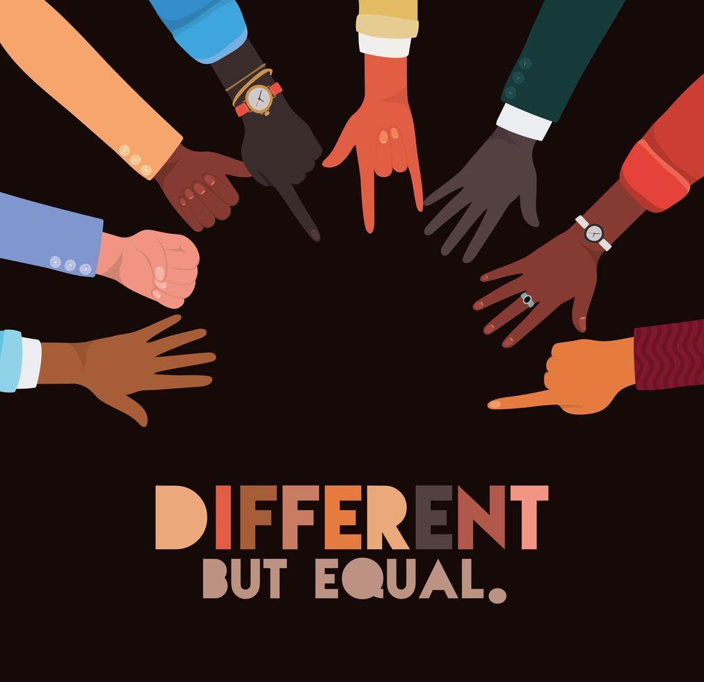 design de sinais de mãos de skins diferentes, mas iguais e de diversidade vetor