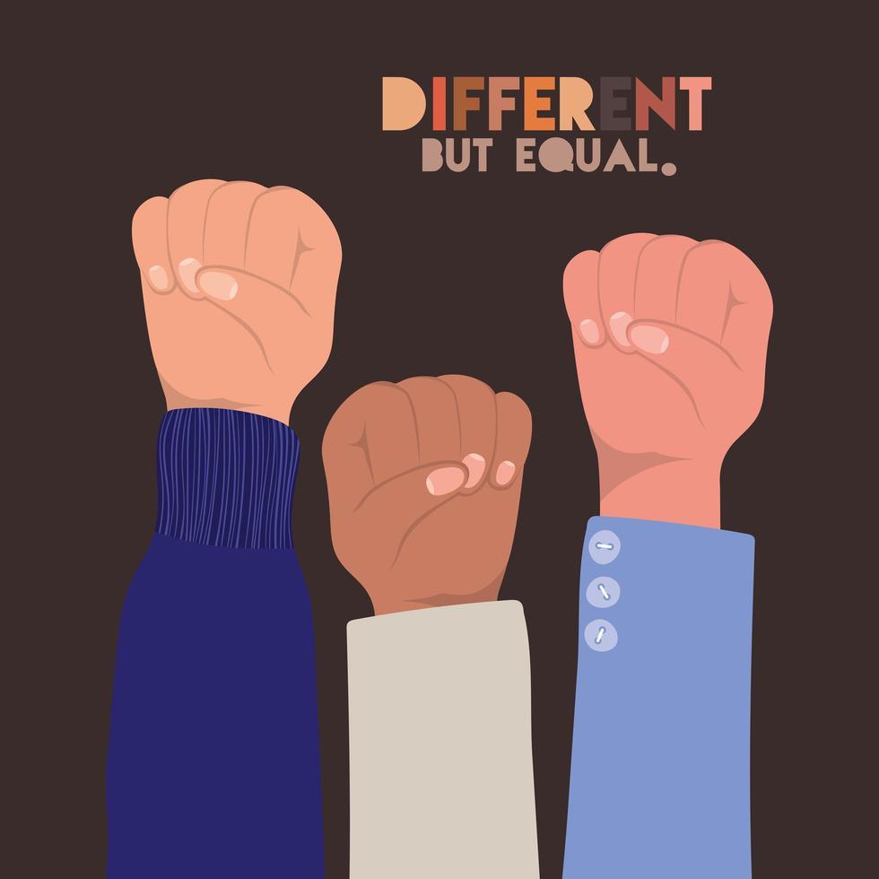 punhos de peles diferentes, mas iguais e de diversidade vetor