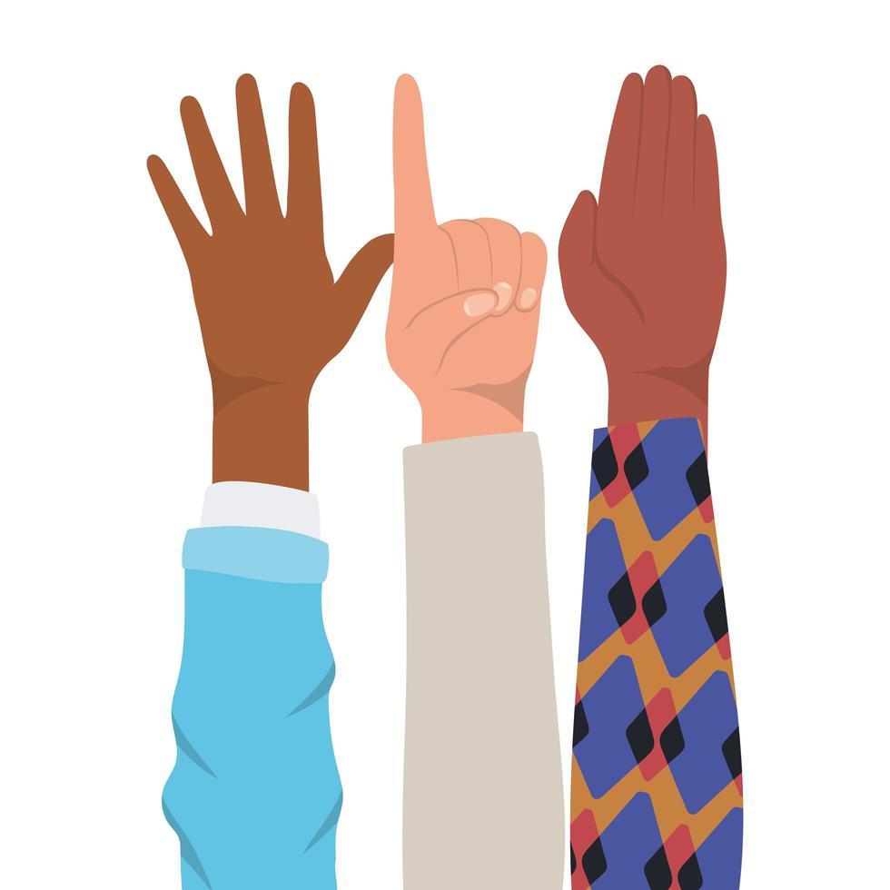 sinal número um e mãos ao alto vetor