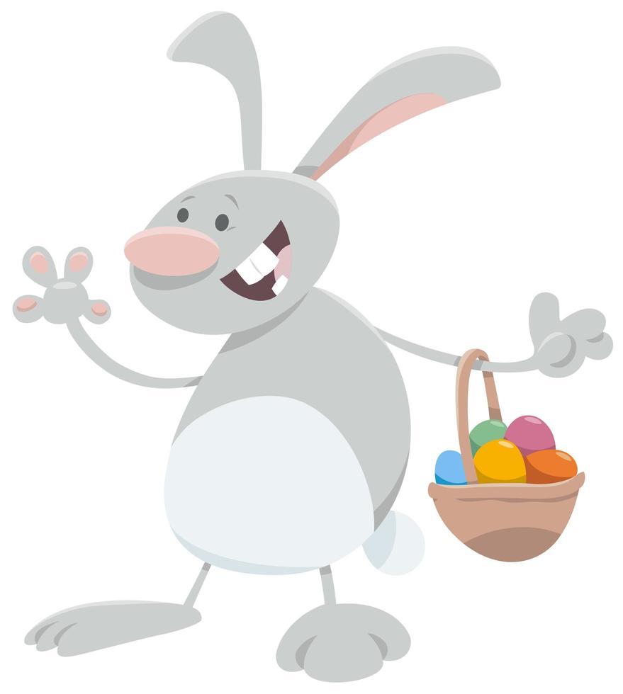 desenho animado coelhinho da páscoa com cesta de ovos vetor